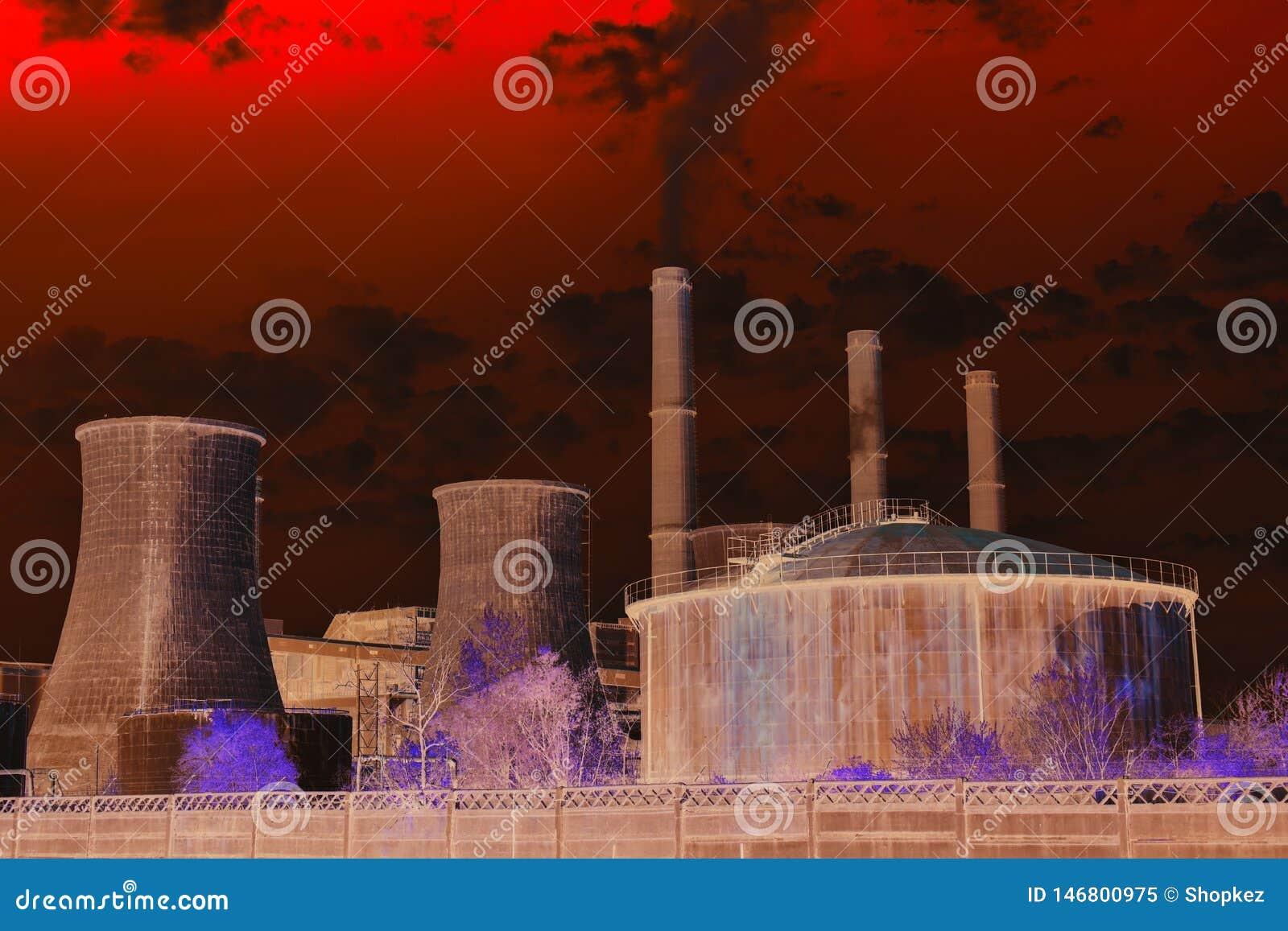 Apokalyptische Ansicht der Chemiefabrik ?lbarrel und Weltkarte