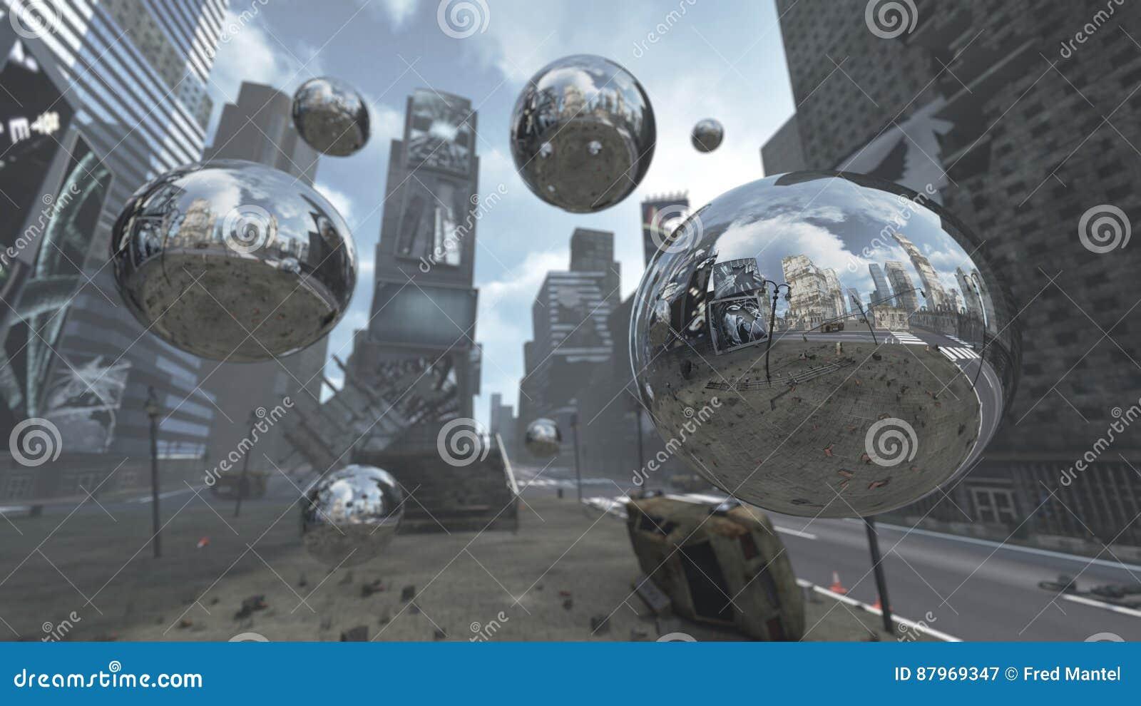 Apokalyptische Silberne Bereiche Auf Time Square New York Manhattan