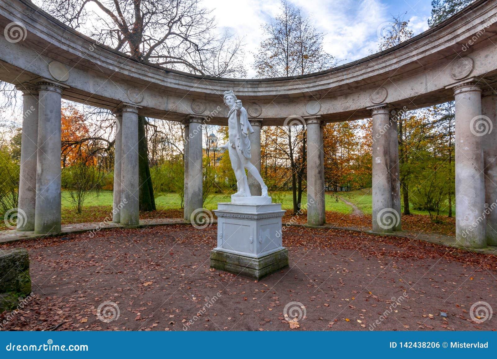 Apollo Collonade en parc de Pavlovsk dans la chute, St Petersburg, Russie