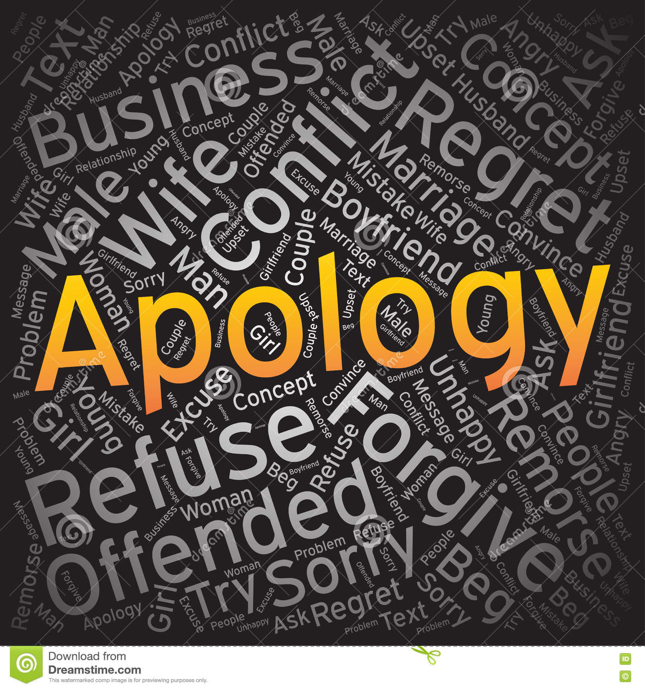 Apology Word Cloud Art Background Stock Vector Illustration of amends modern