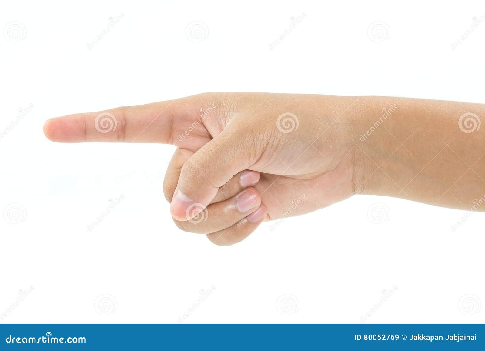 Apontar do dedo da mão da criança