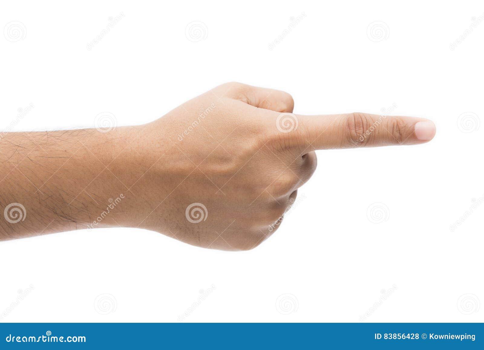 Apontar do dedo da mão isolado no fundo branco