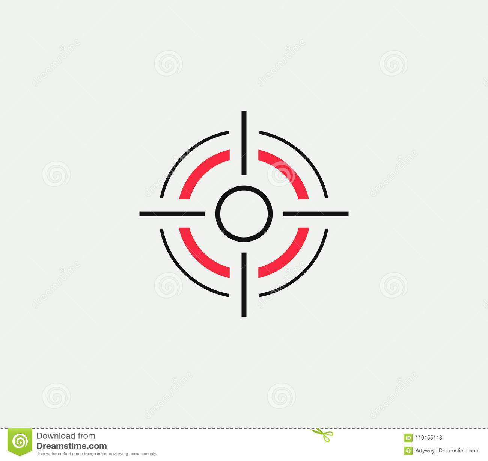 Aponte o ícone estilizado linear do vetor, sinal abstrato do objetivo, símbolo do alvo, molde do logotipo do negócio da arma, ilu