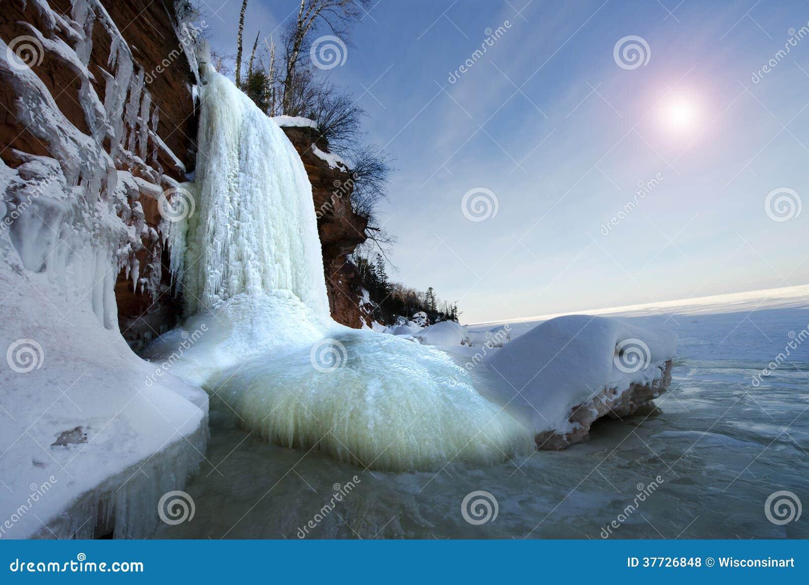 Apostle Islands Ice Caves Frozen Waterfall, Winter