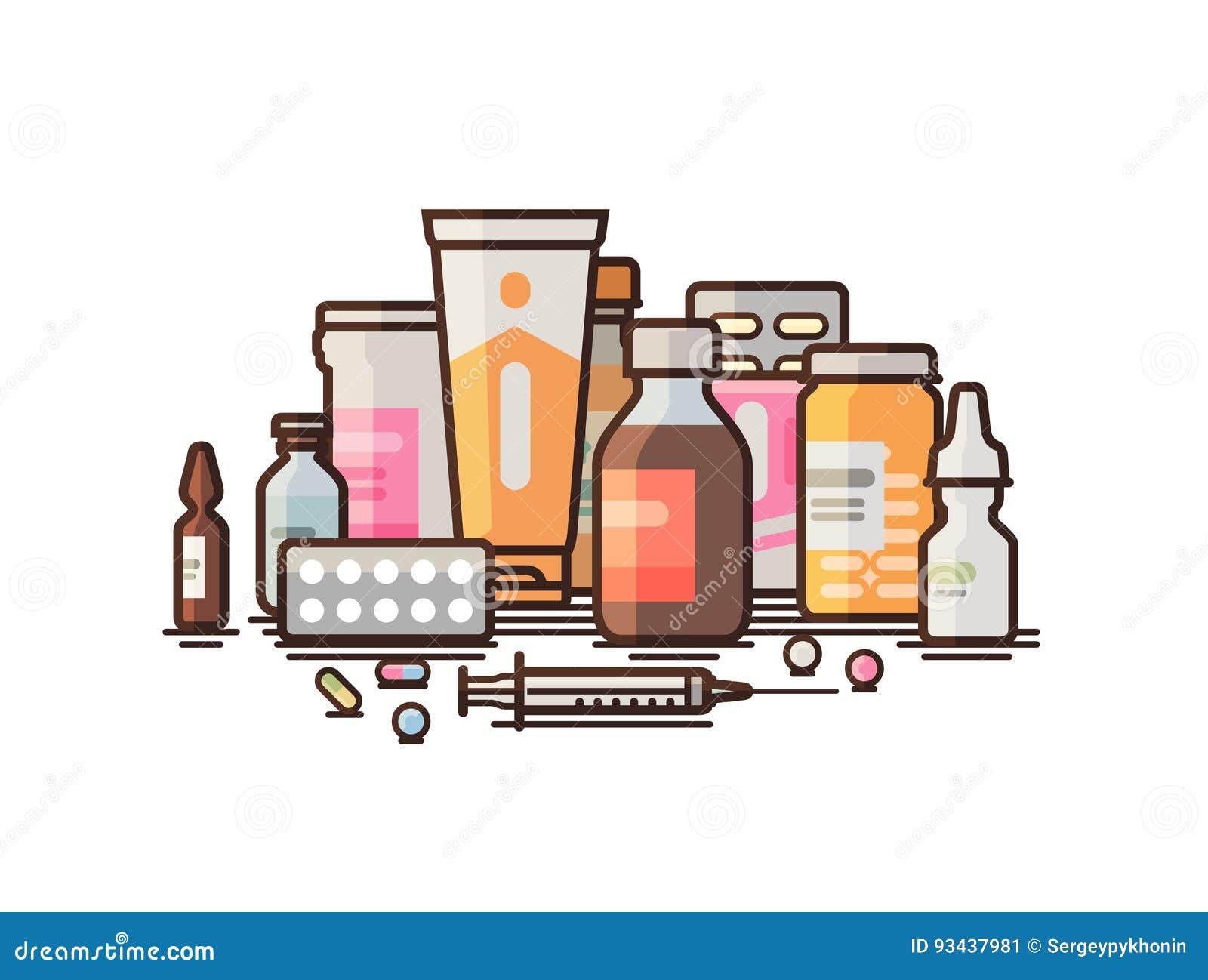 Apotek farmakologi, apotek, medicinska förnödenheterbaner Modern medicin, sjukhus, sjukvårdbegrepp vektor