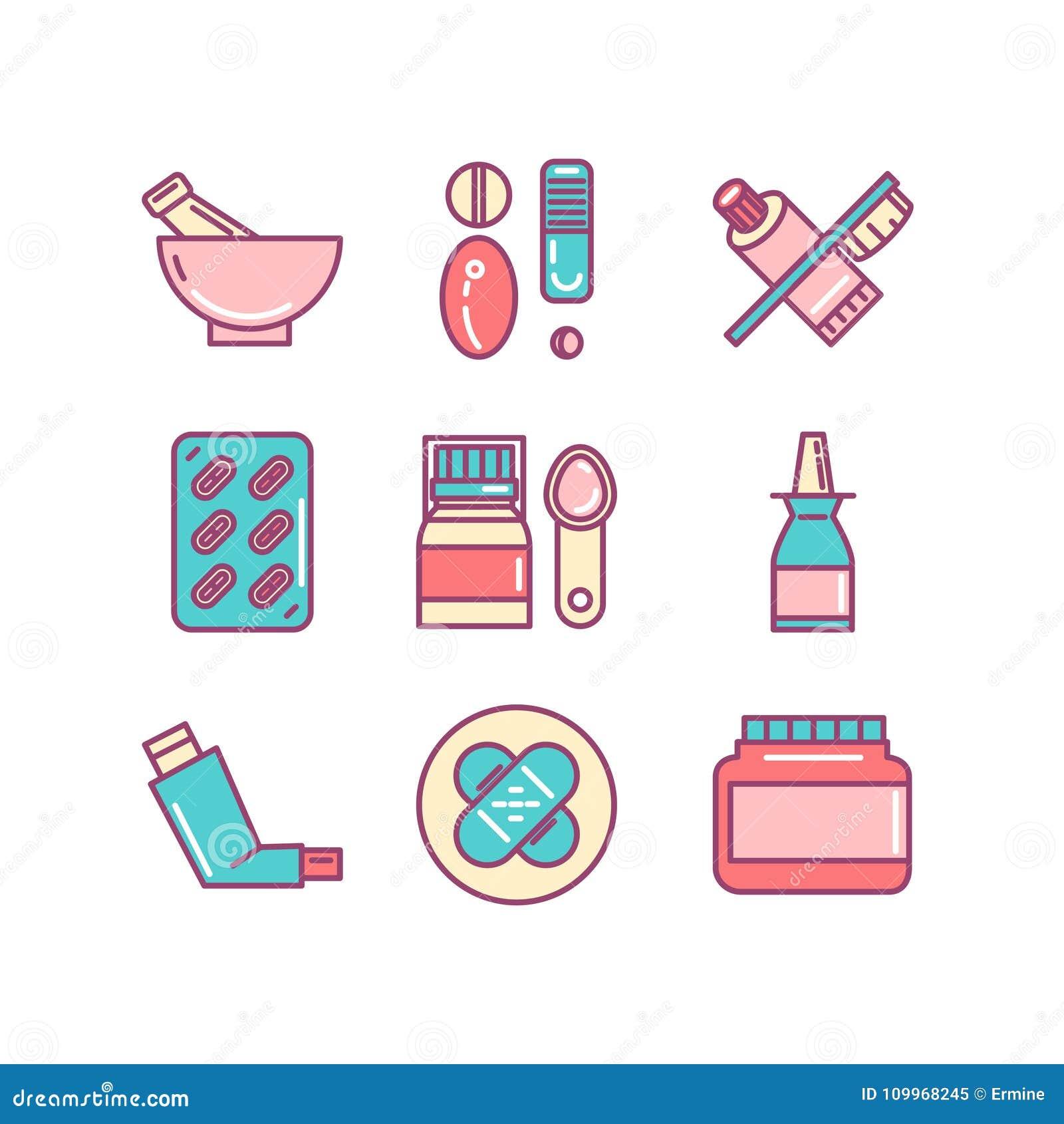 Apotek läkarundersökning, hälsa, preventivpillerar, blandning, tunn linje färgsymboler