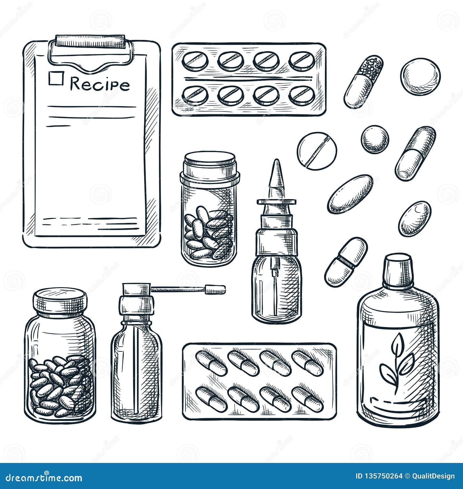 Apotek, medicin och sjukvården skissar illustrationen Piller droger, flaskor, receptdesignbeståndsdelar