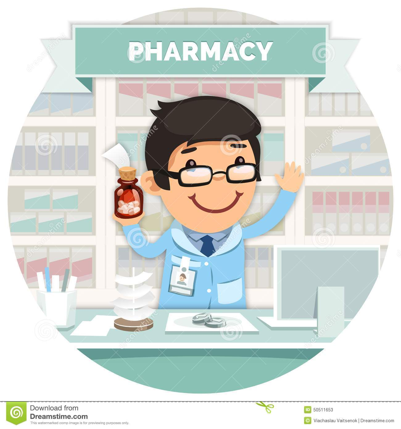 Clip Art Pharmacist Clipart pharmacy interior stock illustrations 313 apothecary behind the counter at round photos