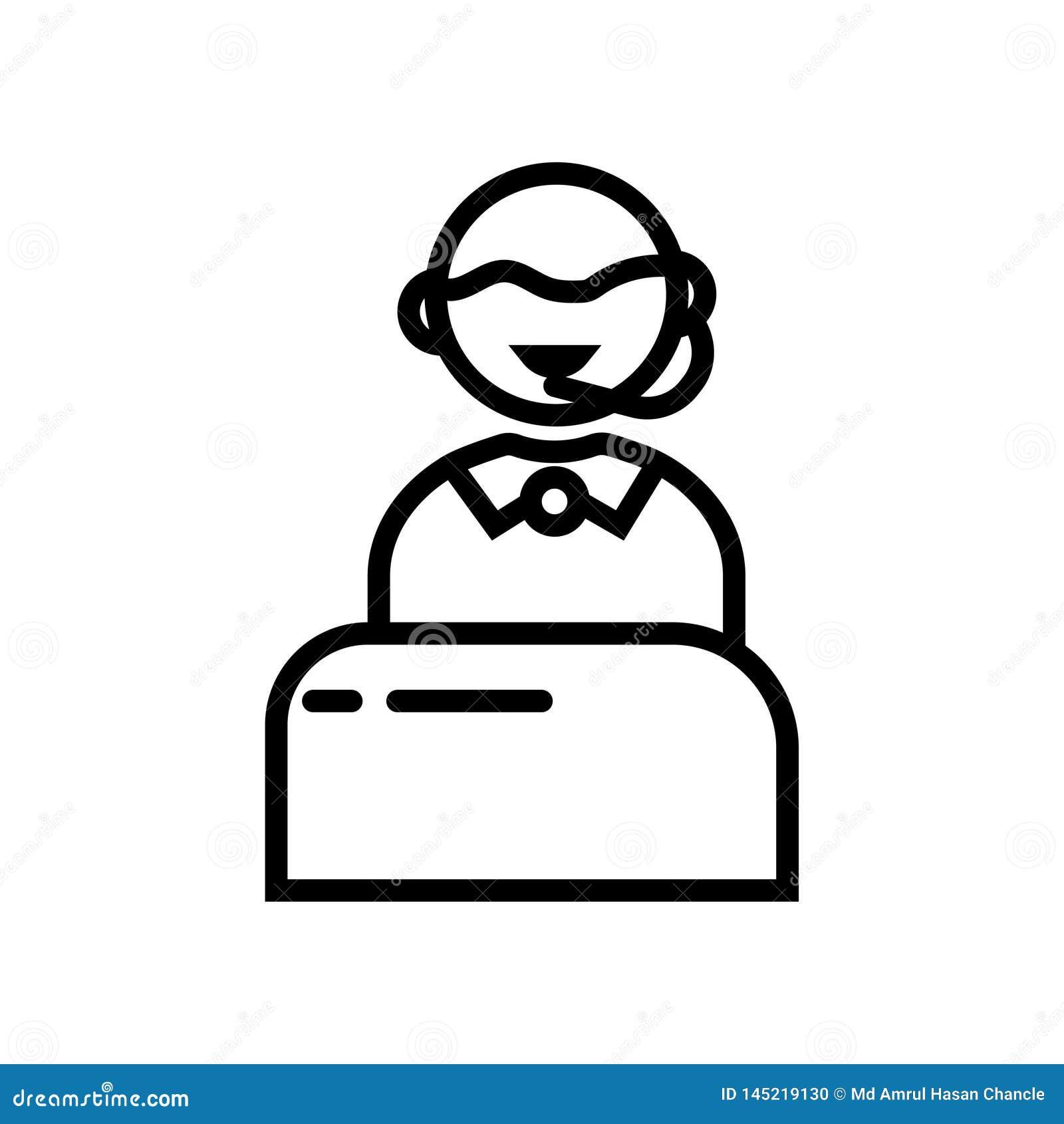 Apoye el icono linear negro del símbolo del ejemplo del vector de la ayuda