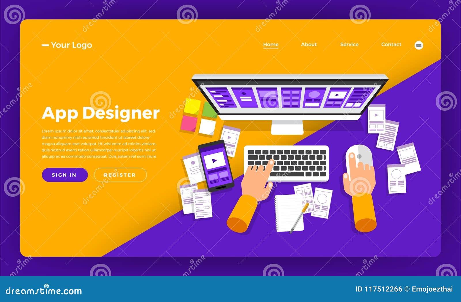 App έννοιας σχεδίου ιστοχώρου σχεδίου προτύπων ο επίπεδος σχεδιαστής δημιουργεί το α
