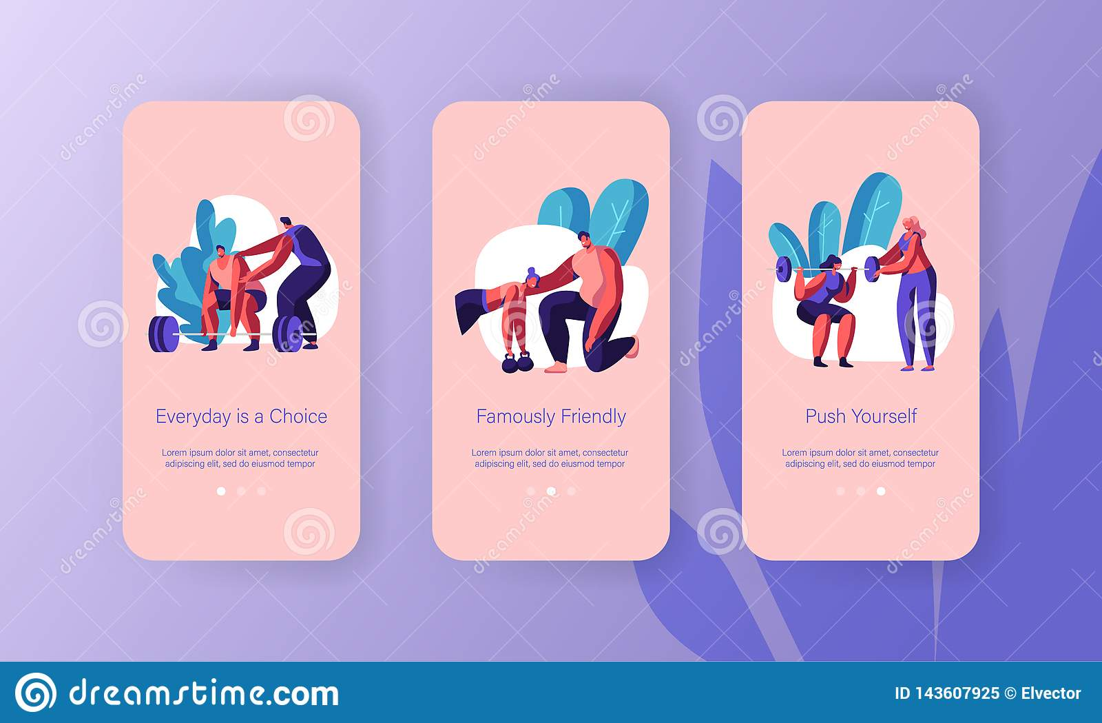App αθλητικών τύπων κατάρτισης αθλητικών προπονητών κινητό σύνολο οθόνης σελίδων εν πλω Στάση οκλαδόν γυναικών με Barbell Βάρος α