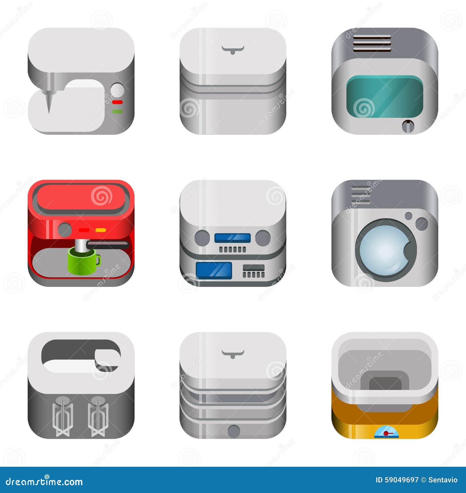 App εγχώριας ηλεκτρονικής στιλπνό διανυσματικό σύνολο εικονιδίων