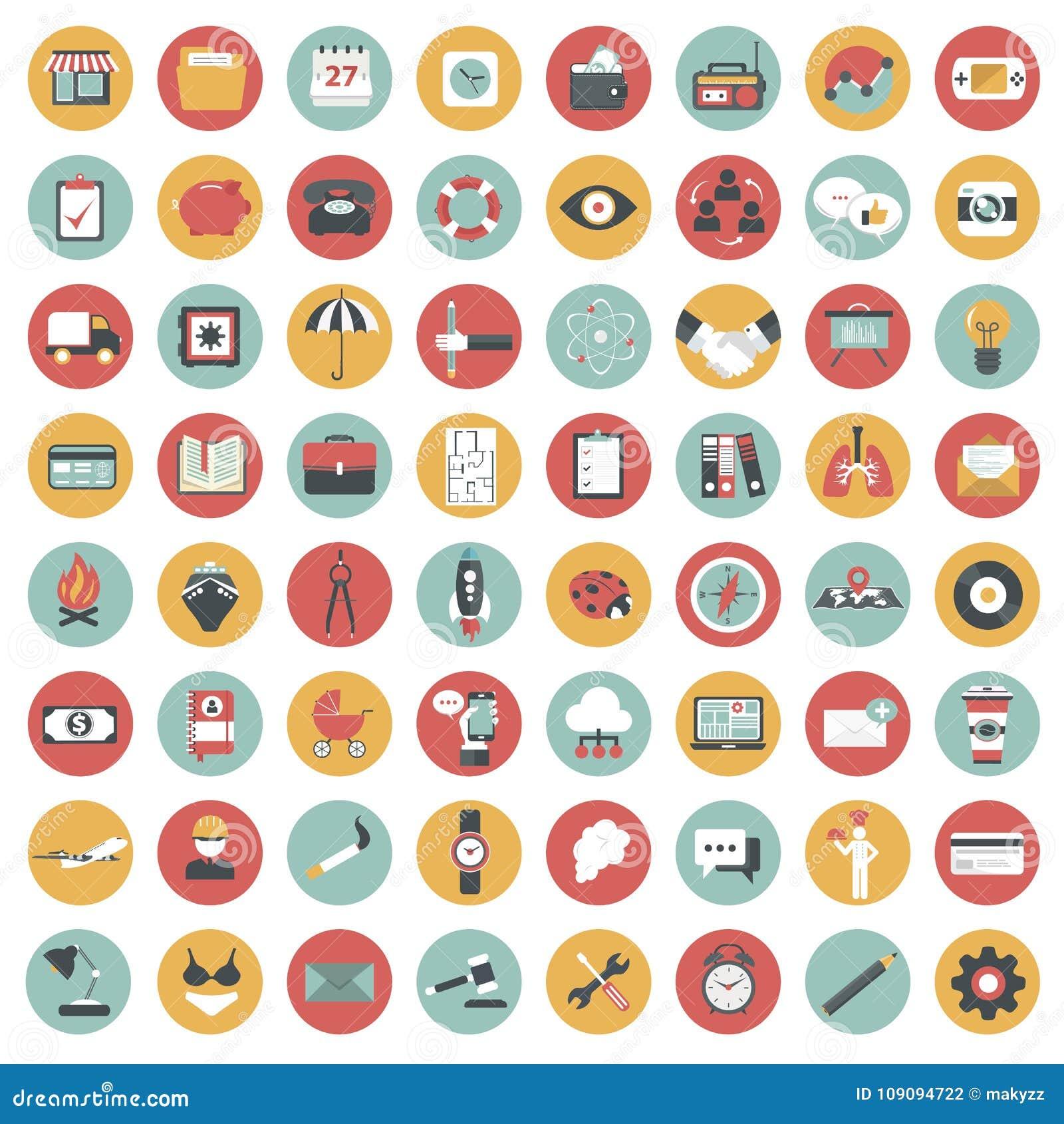 App σύνολο εικονιδίων Εικονίδια για τους ιστοχώρους και κινητές εφαρμογές επίπεδος