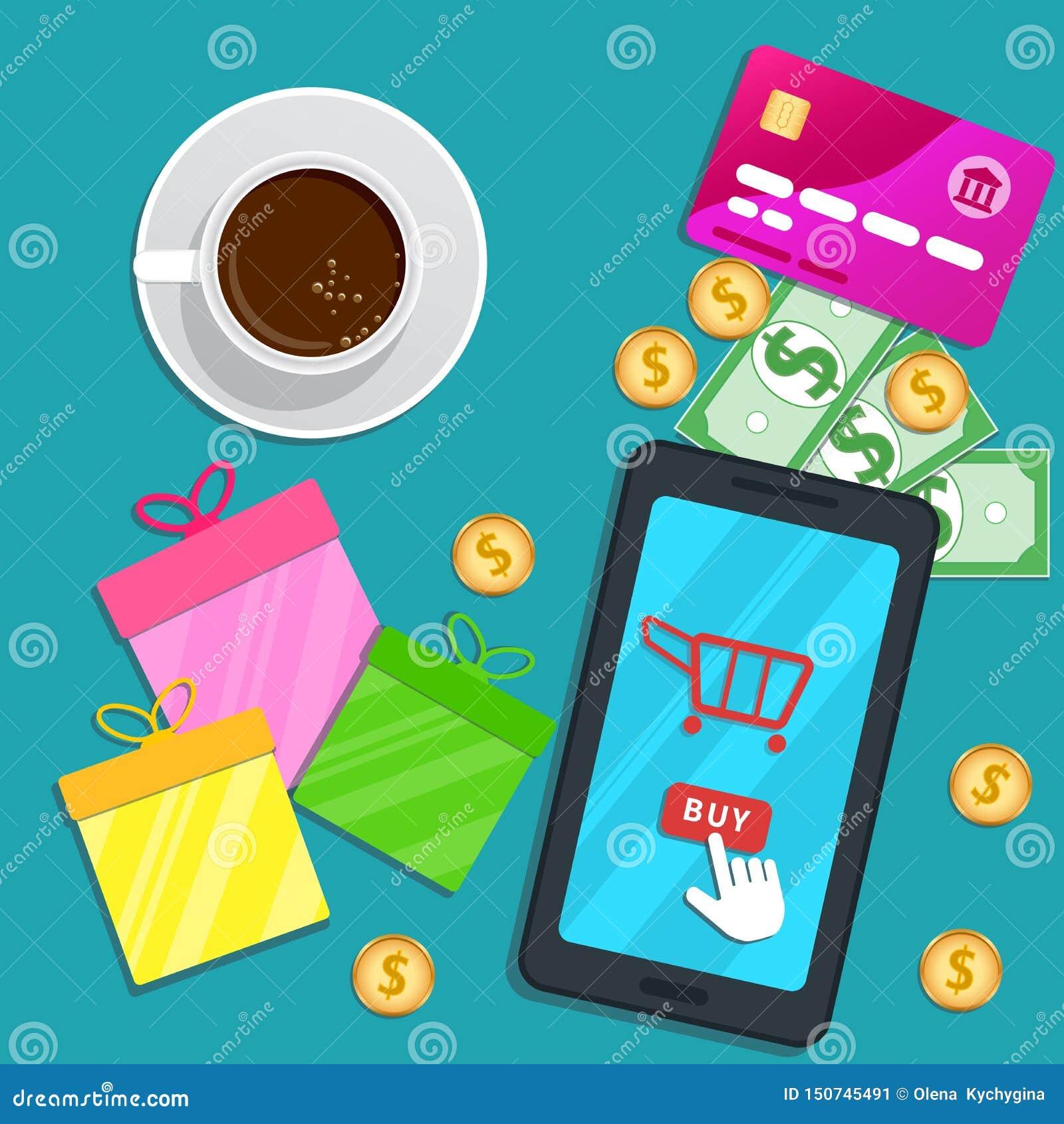 App de compra em linha Smartphone liso com ícone do carro e botão de clique da compra do ponteiro do cursor na tela Tabela com ca