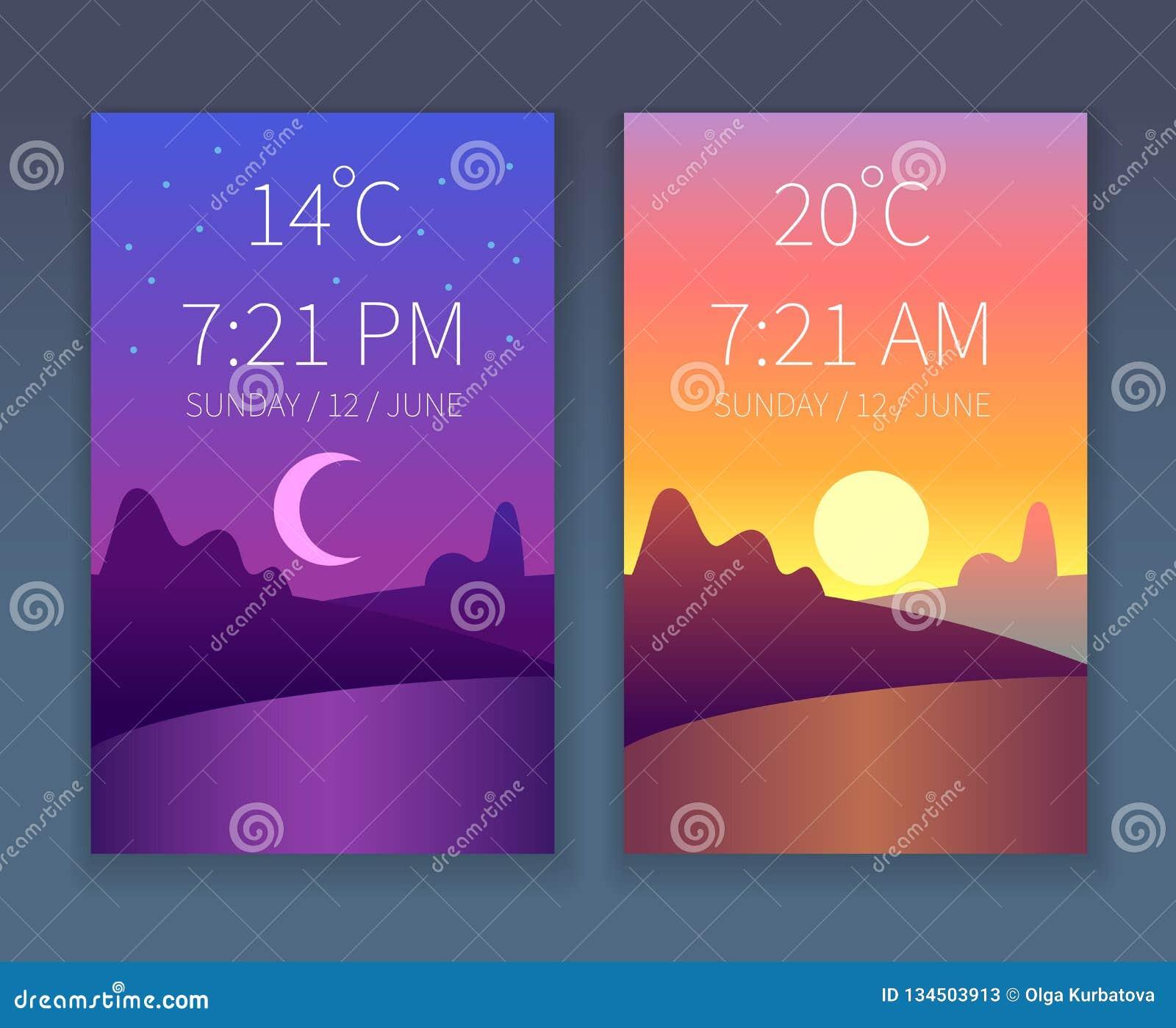 App de la noche del día Mañana y cielo de la igualación Paisaje de la naturaleza con los árboles Fondo plano del tiempo del vecto
