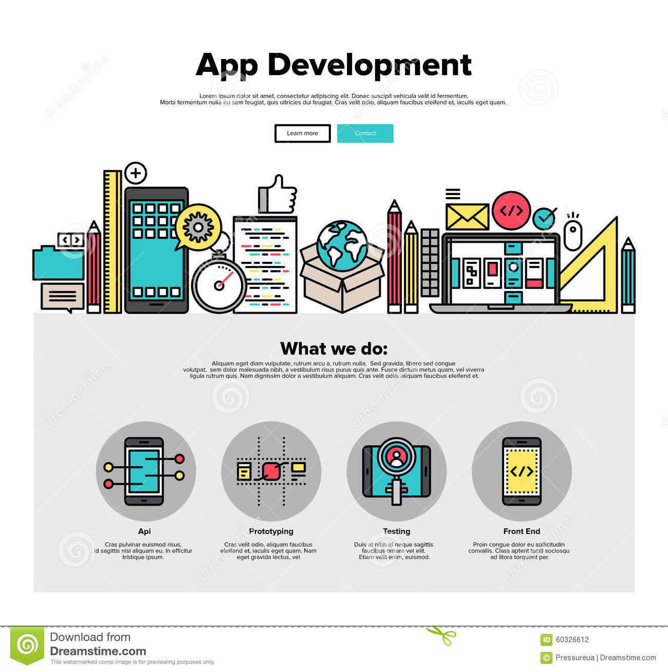 App development flat line web graphics stock vector for Website planning software