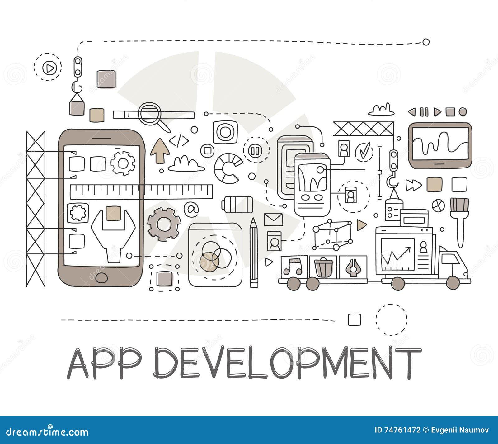 App development process elements creative sketch infographic stock app development process elements creative sketch infographic ccuart Image collections