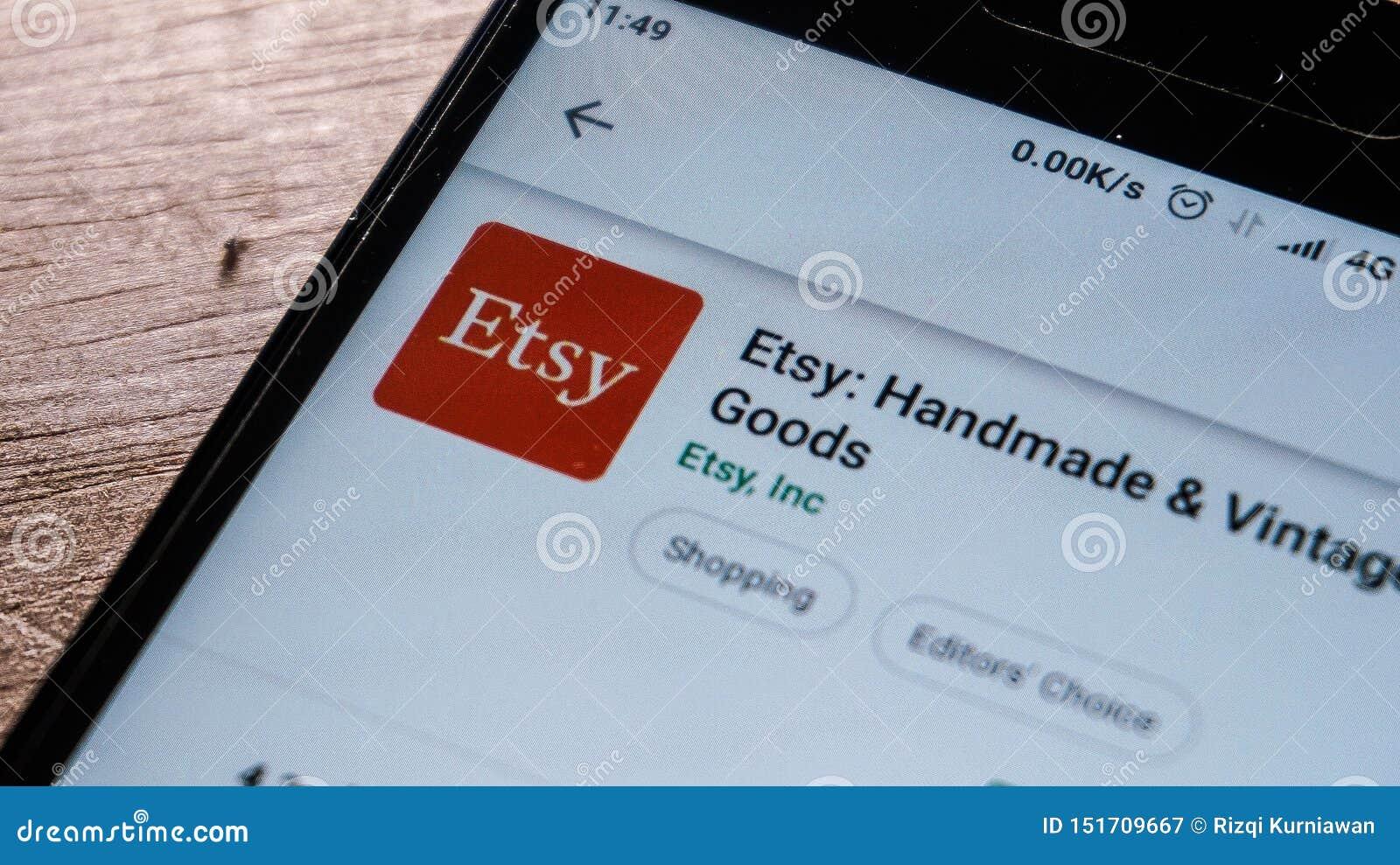 App di Etsy nel deposito del gioco