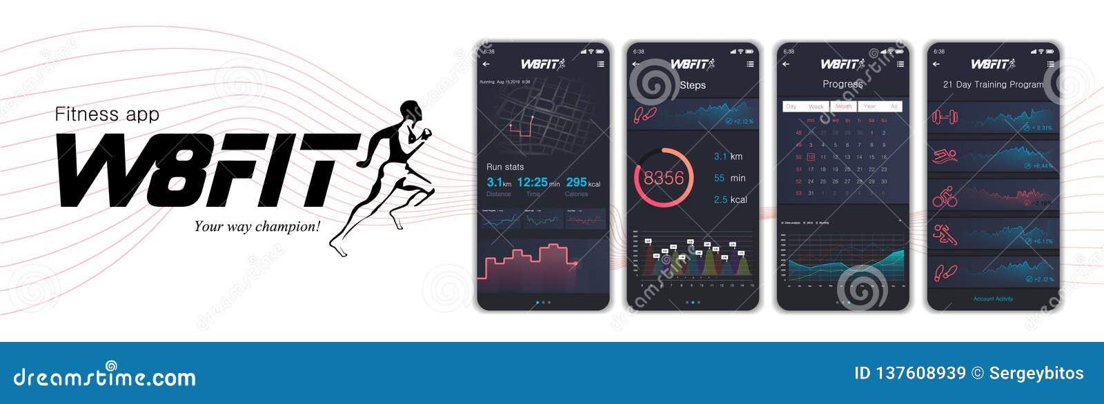 App dos fitnes das telas diferentes de UI, de UX, de GUI e ícones lisos da Web para apps móveis