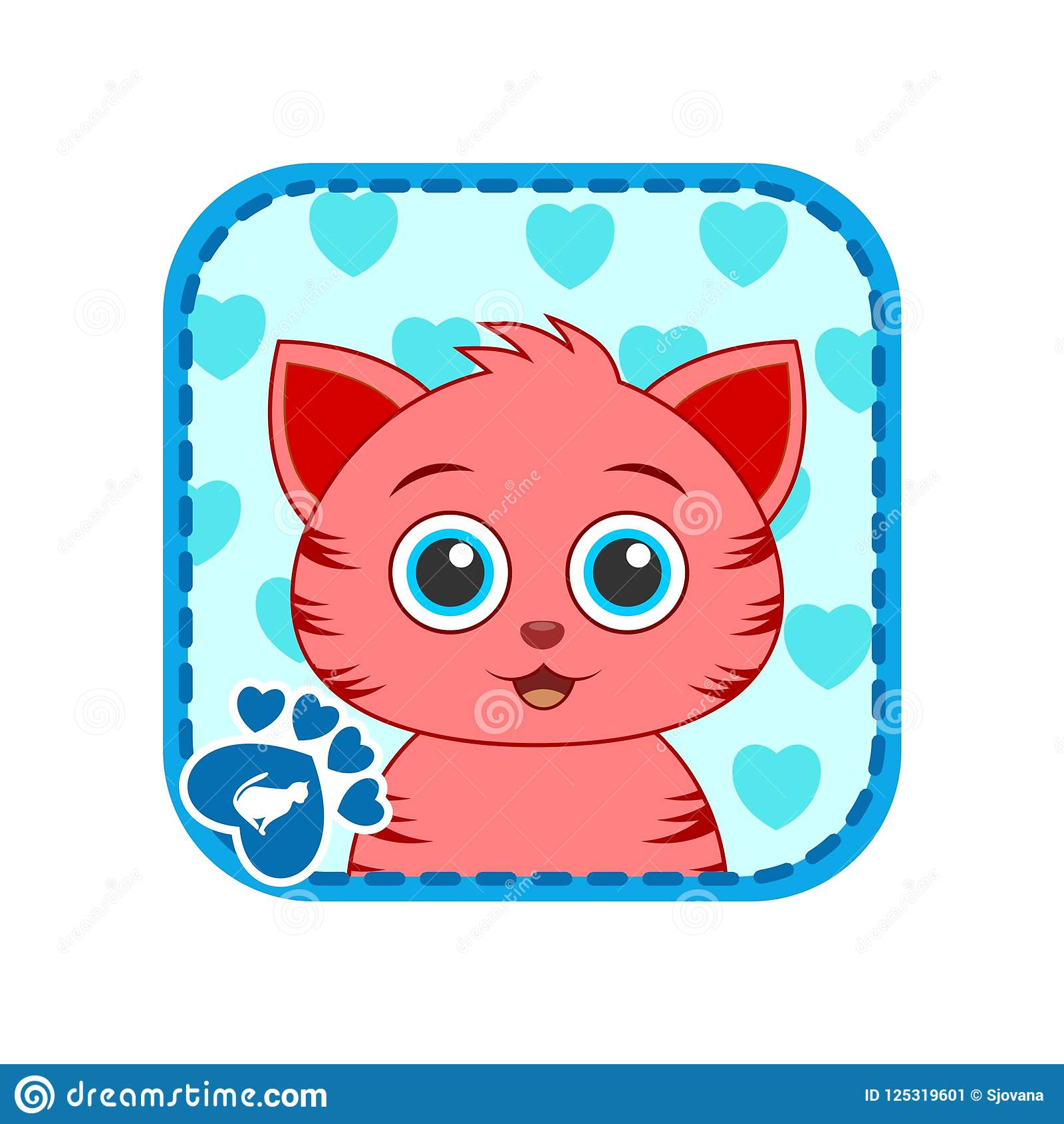 App Icon With Cute Red Cat Face Stock Vector - Illustration of