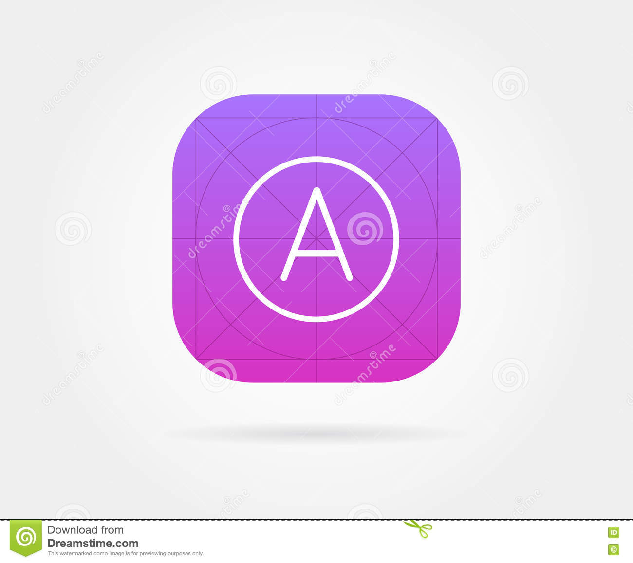 app icon template with guidelines vector stock vector