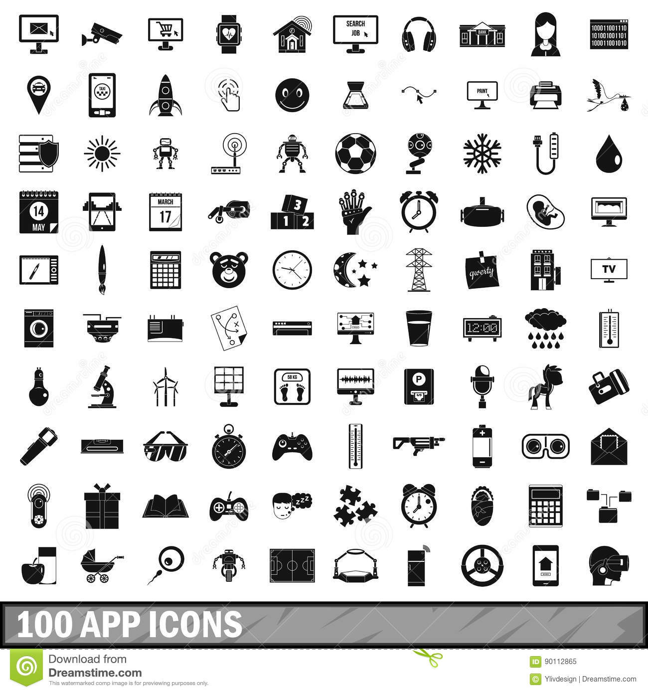 63fee201 100 app icons set in simple style for any design vector illustration