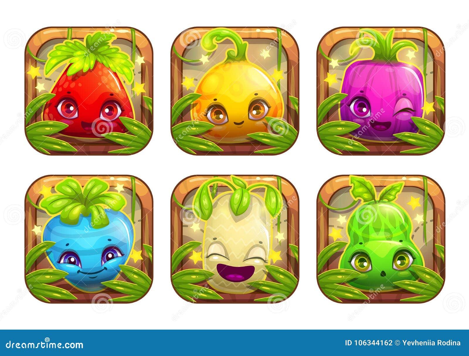App ikony z ślicznymi kreskówki rośliny potworami