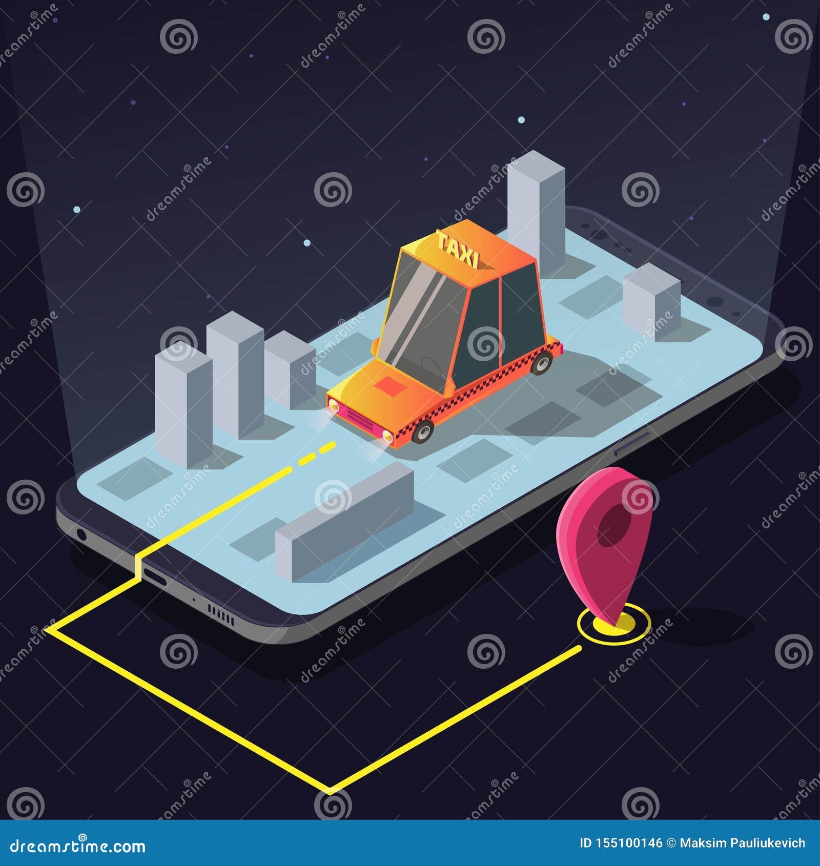App isometrico di servizio di ordine dell automobile del taxi, carrozza gialla