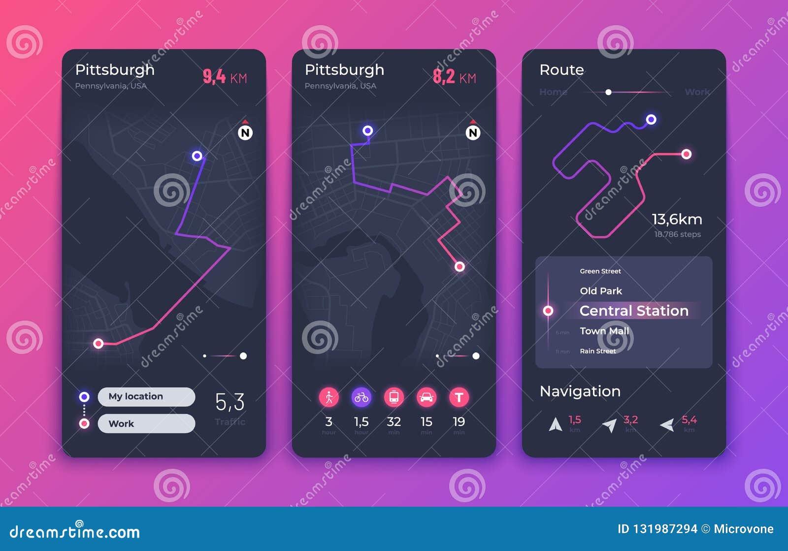 App móvil del mapa de la navegación Interfaz del smartphone del perseguidor de los gps del taxi Diseño de seguimiento del vector