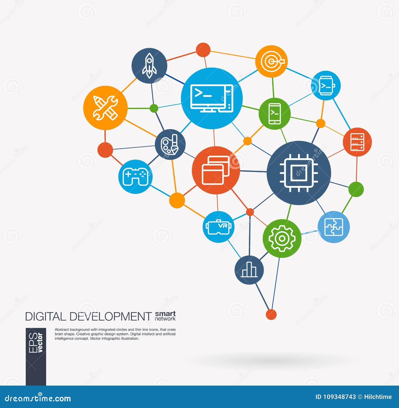App ontwikkeling, programm code, software, Webontwerp geïntegreerde bedrijfs vectorpictogrammen Het digitale idee van netwerk sli