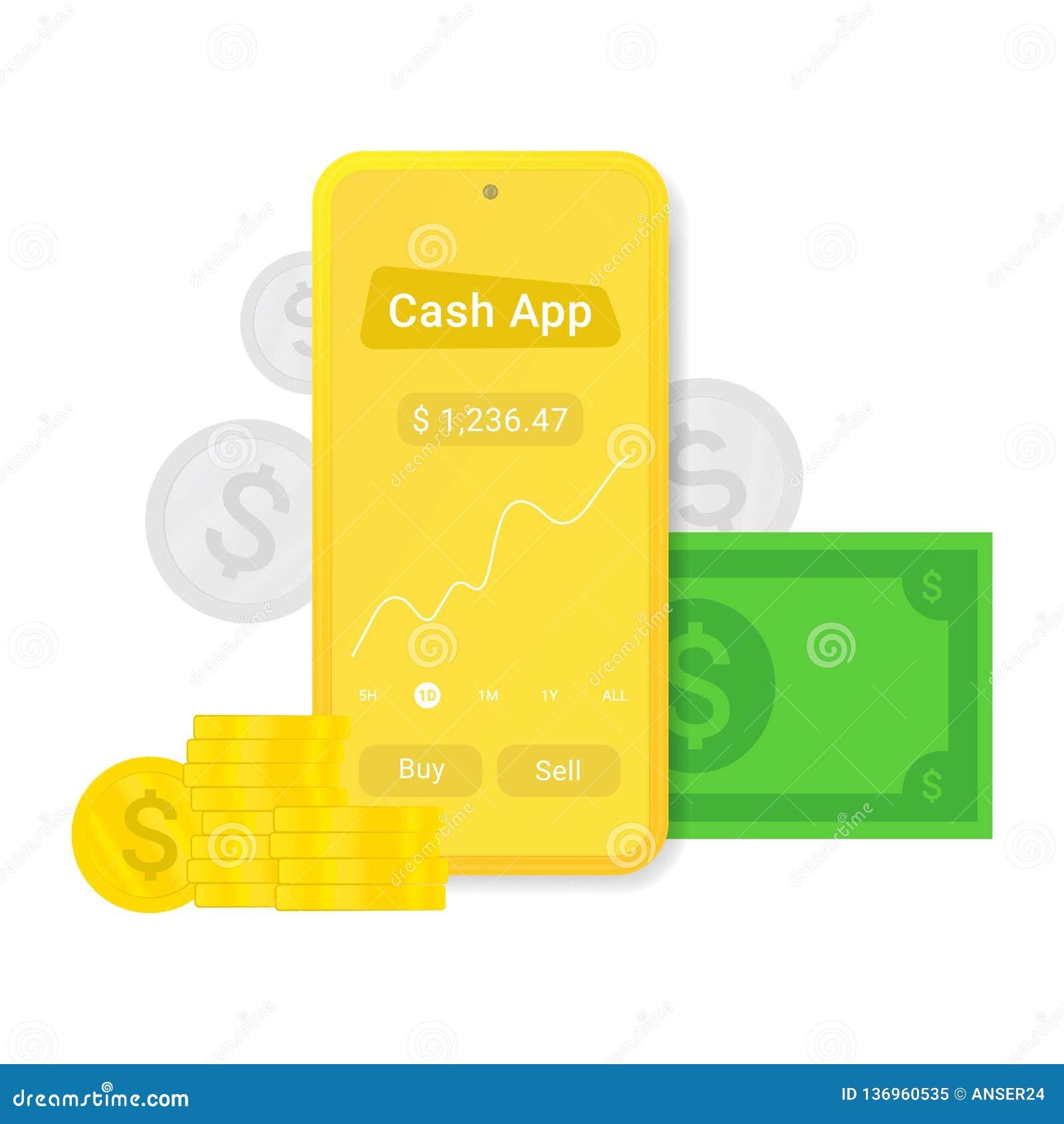 App plano o publicidad del efectivo Muestra móvil de la paga