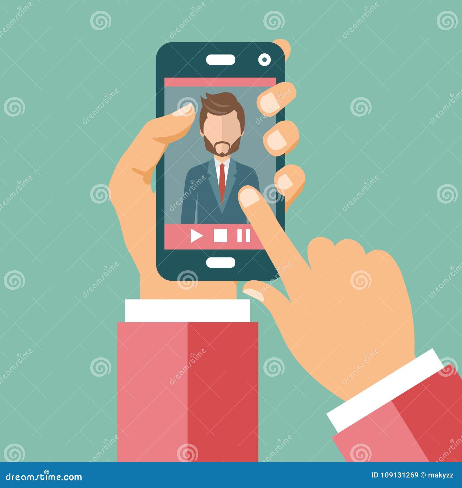 App-symbolsuppsättning Symboler för websites och mobilapplikationer Plan vectorVideokonferens på linjen appellbegrepp Händer som