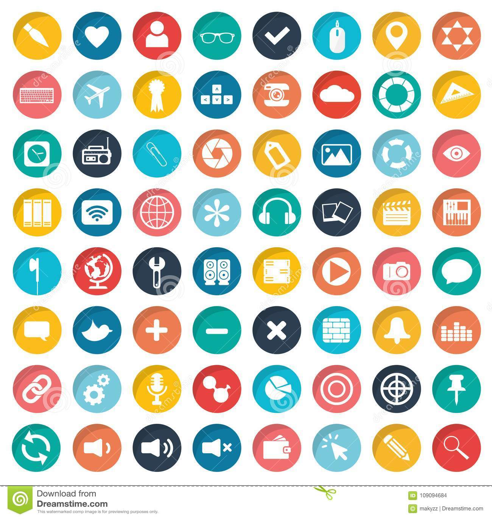 App-symbolsuppsättning Symboler för websites och mobilapplikationer plant