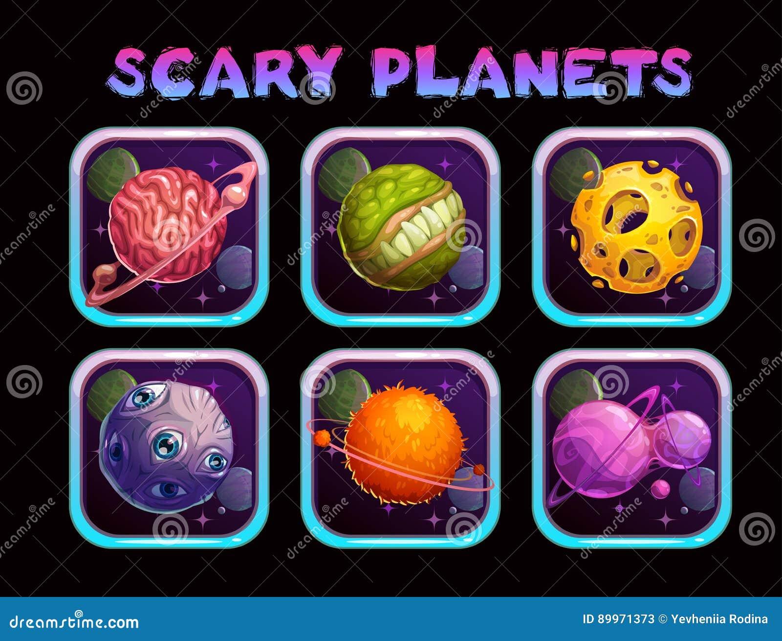 App van de beeldverhaal enge planeet geplaatste pictogrammen