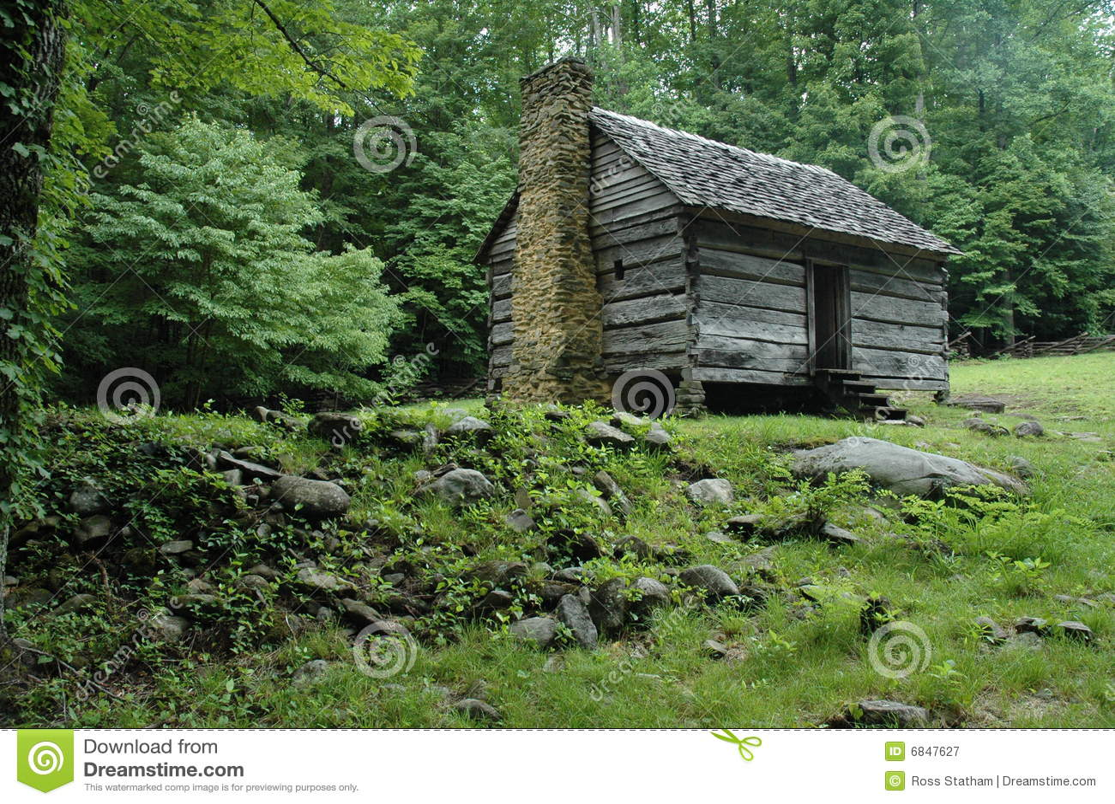 Appalachian mountain log cabin stock image of