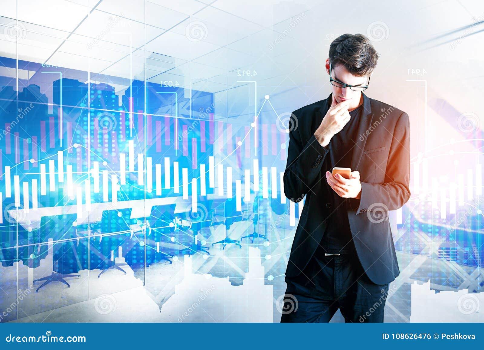 Apparaat, technologie en financiënconcept