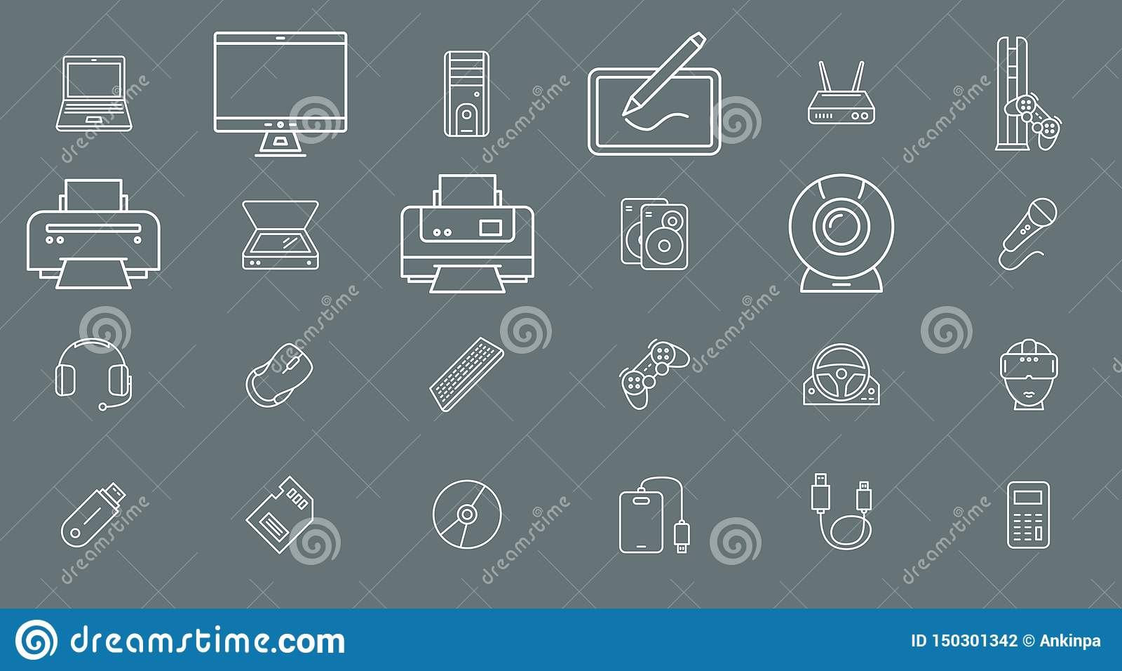 Apparat av en datorelektronik - fastställd vektoröversikt för symboler för rengöringsduk eller mobil 01