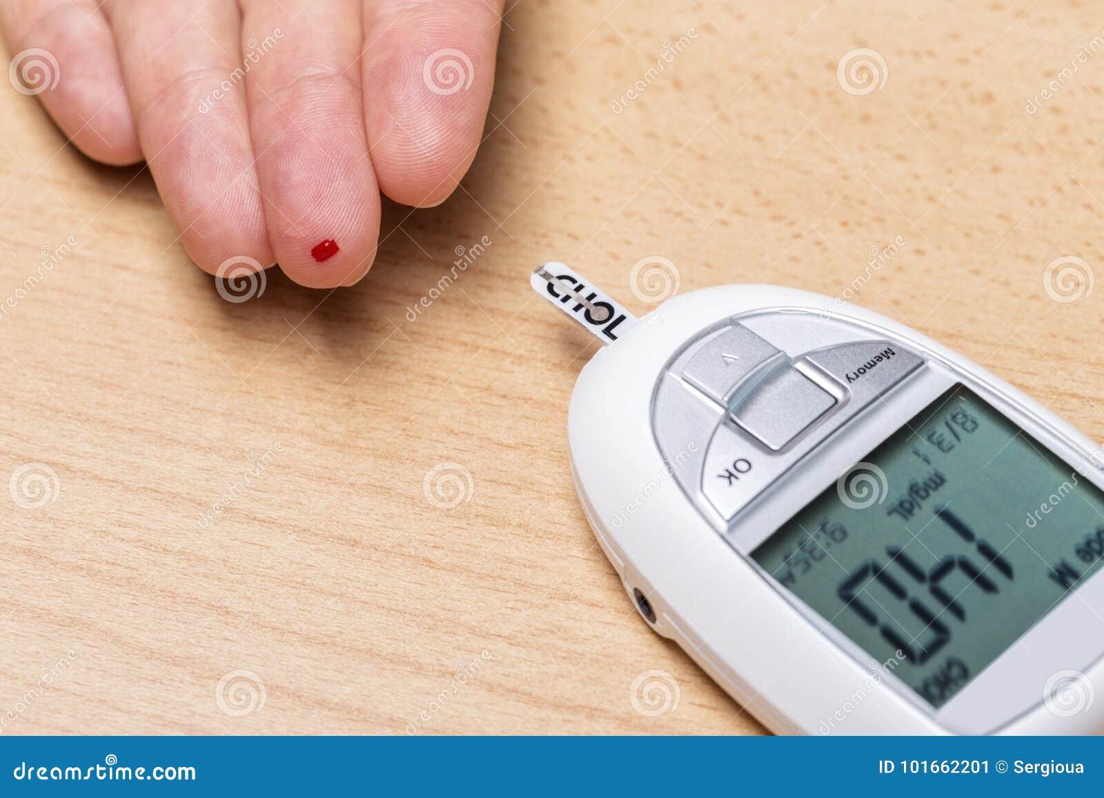 Apparat för att mäta kolesterol och insulin Blodprov