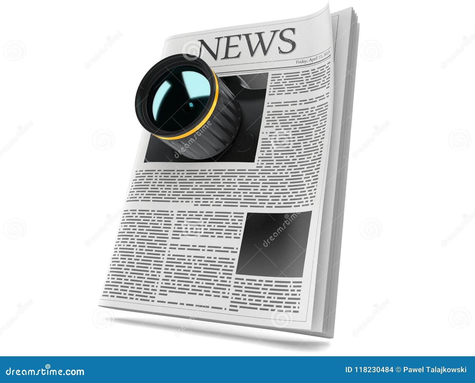 Appareil-photo avec le journal