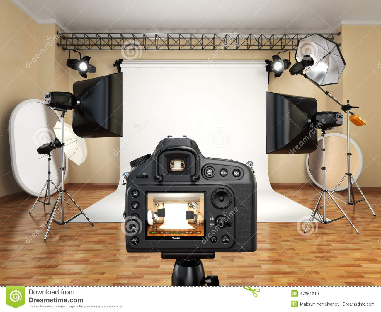 appareil photo de dslr dans le studio de photo avec le mat riel d 39 clairage softbox et. Black Bedroom Furniture Sets. Home Design Ideas