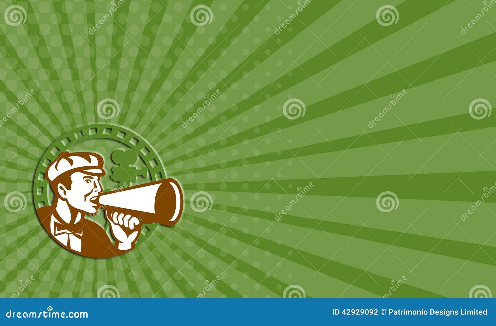 La Carte De Visite Professionnelle Montrant Lillustration Dun Cameraman Cineaste Criant Utilisant Le Corne Brume Avec Lappareil Photo