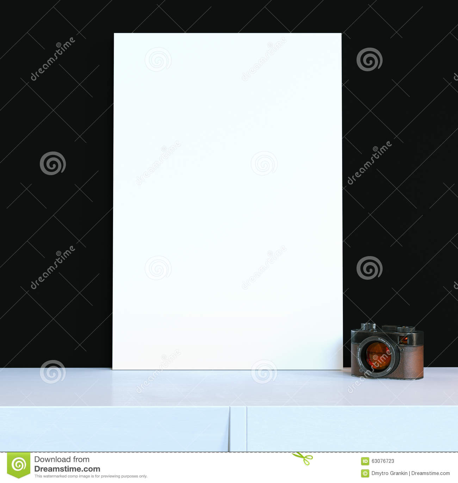Download Appareil-photo De Vintage Et Une Grande Affiche Sur Un Nightsta Blanc De Fond Illustration Stock - Illustration du moquerie, matériel: 63076723