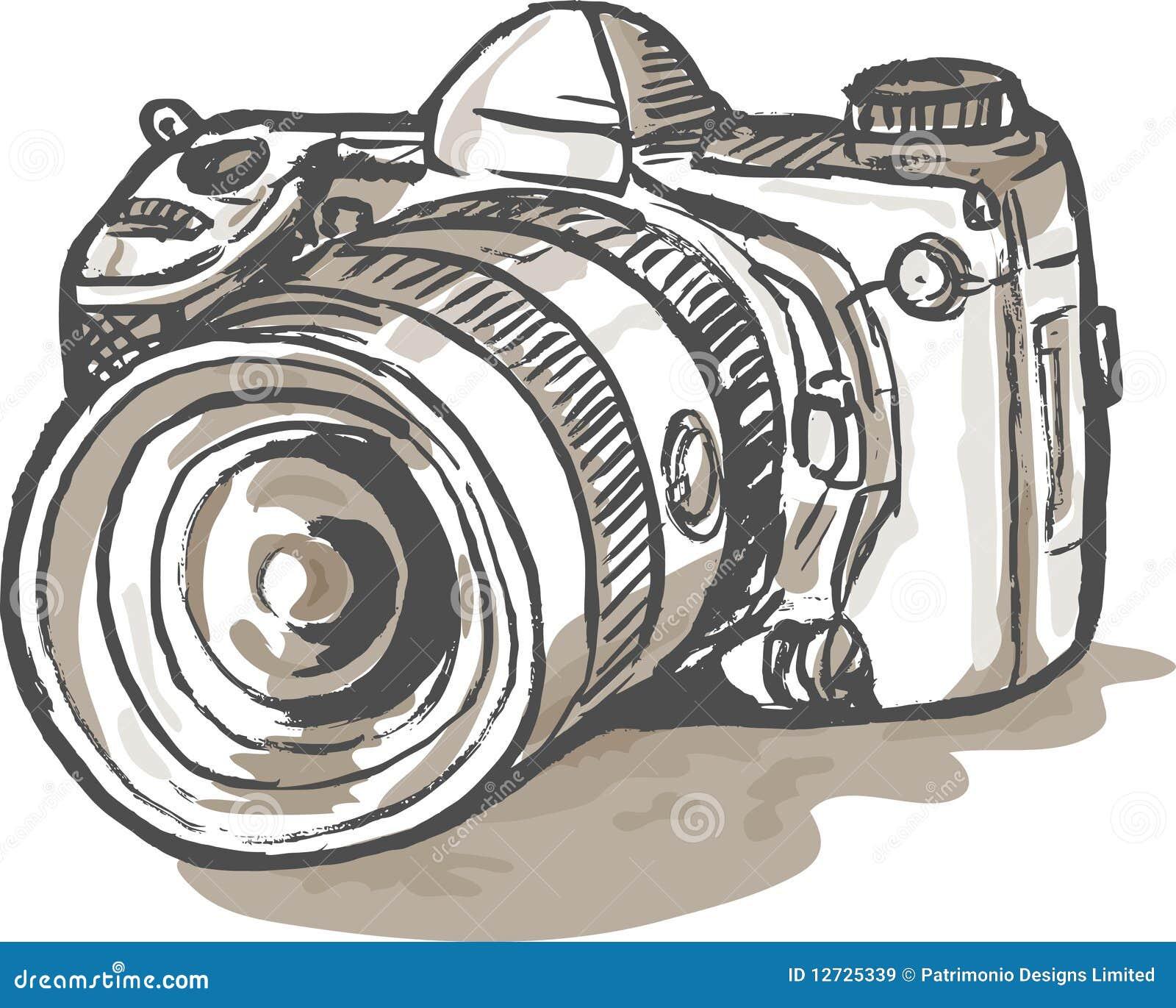 appareil photo digital de dessin de slr illustration stock illustration du fond avant 12725339. Black Bedroom Furniture Sets. Home Design Ideas