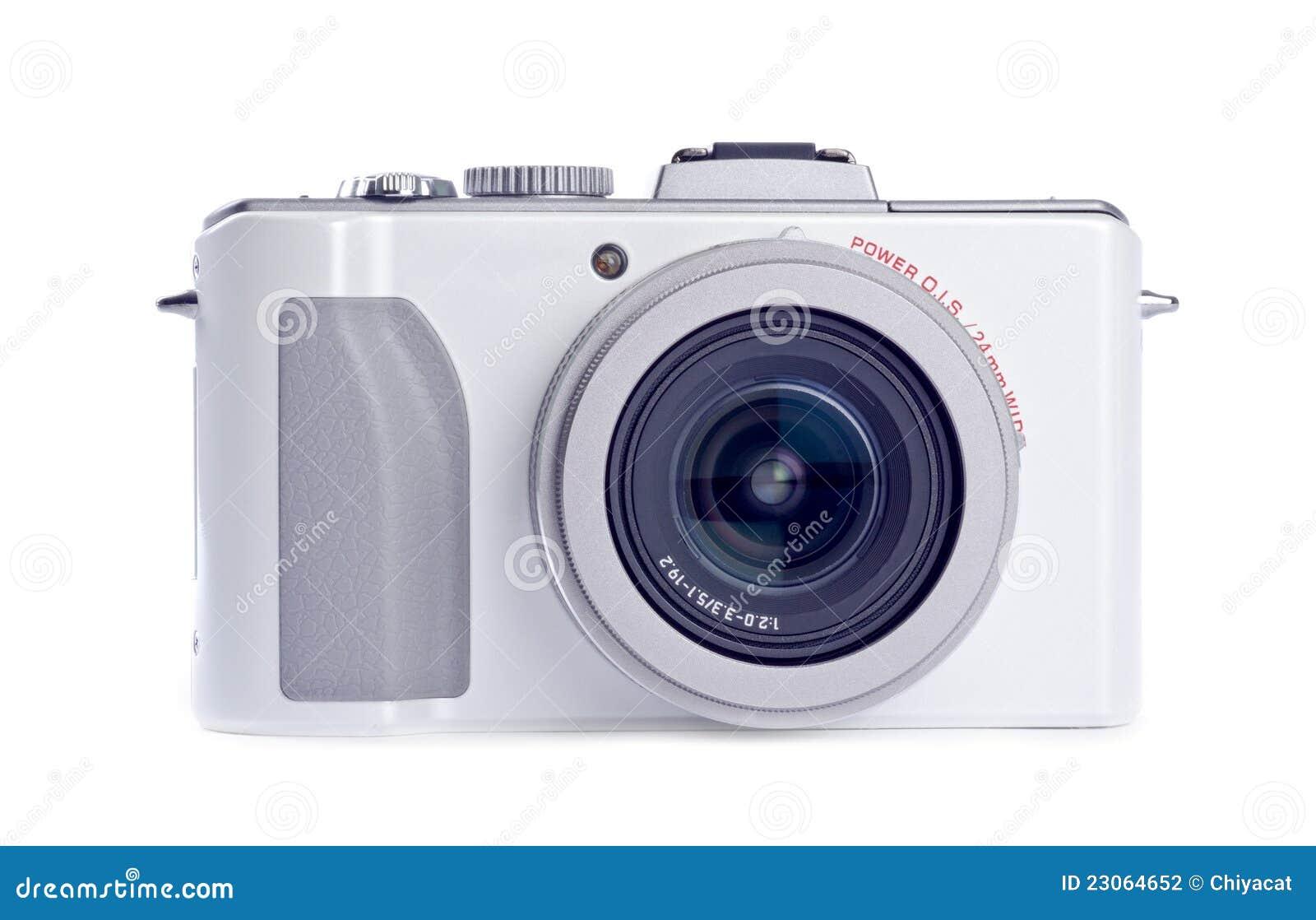 Appareil photo numérique de point et de pousse d isolement sur le blanc