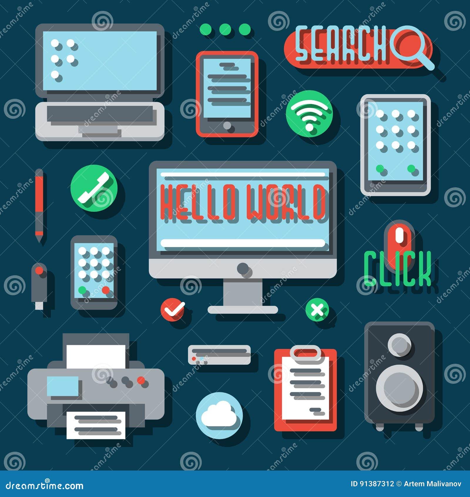 Appareils électroniques de bureau pour des affaires Vecteur