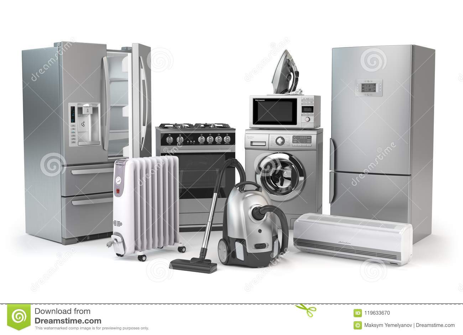 Appareils ménagers Ensemble de techniques de cuisine de ménage d isolement sur W