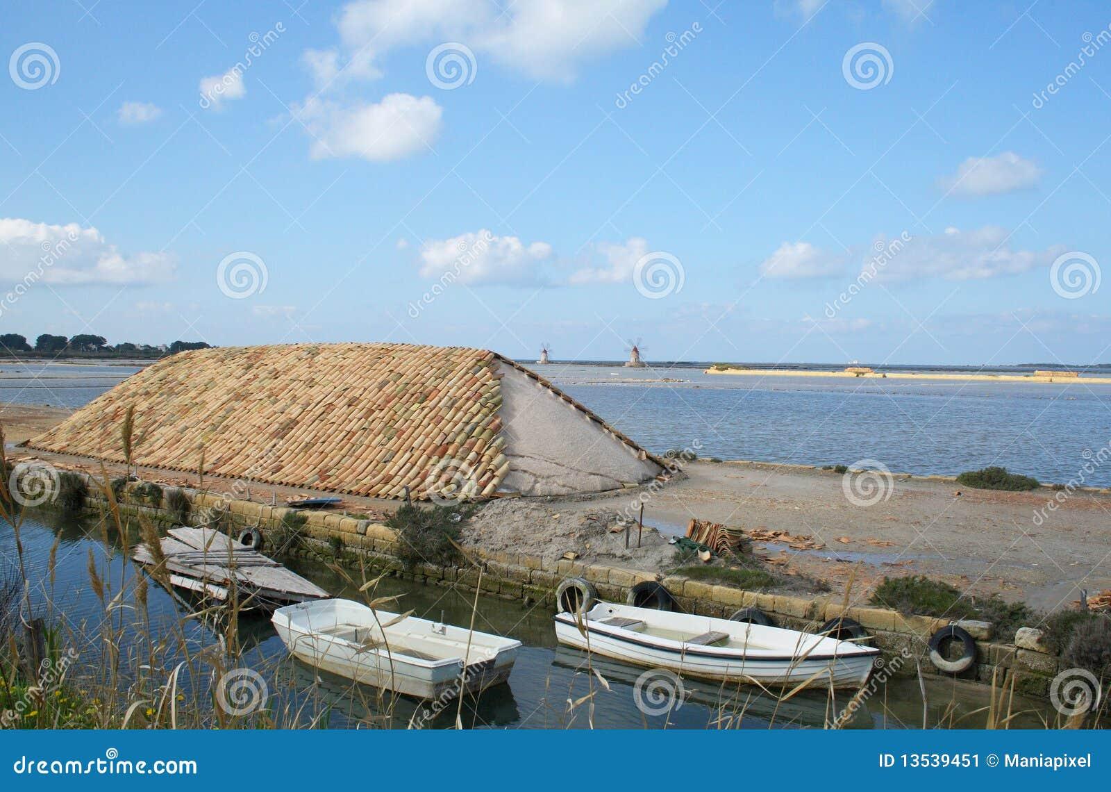 Appartamenti del sale dei canali e montagne di sale