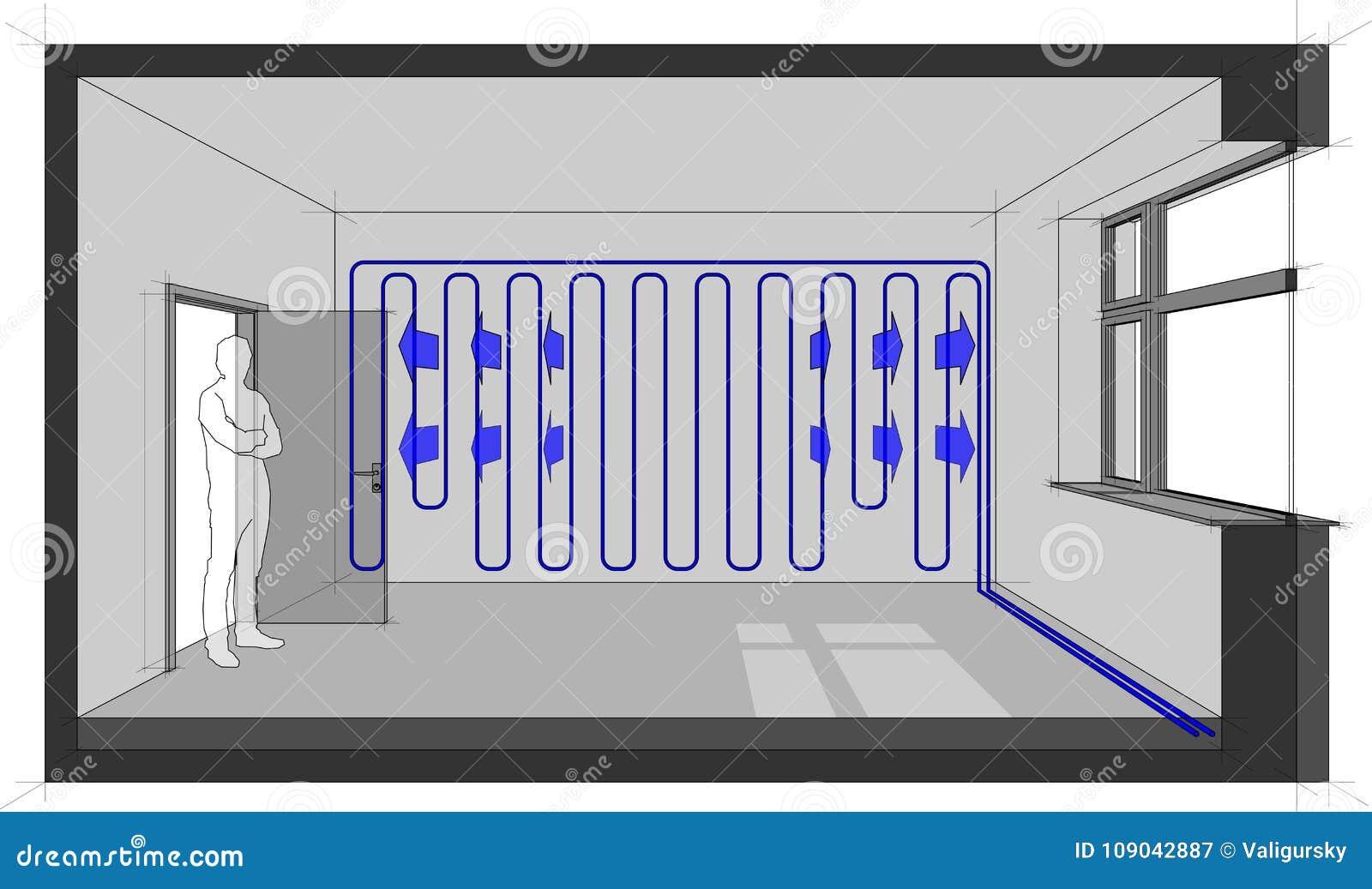 Camera Da Letto In Prospettiva Centrale appartamento con i radiatori e photovoltaics e solars e