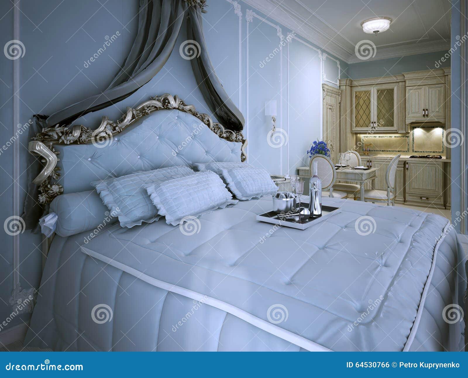Camera Da Letto Blu Cobalto : Appartamento di studio della camera da letto in blu fotografia stock