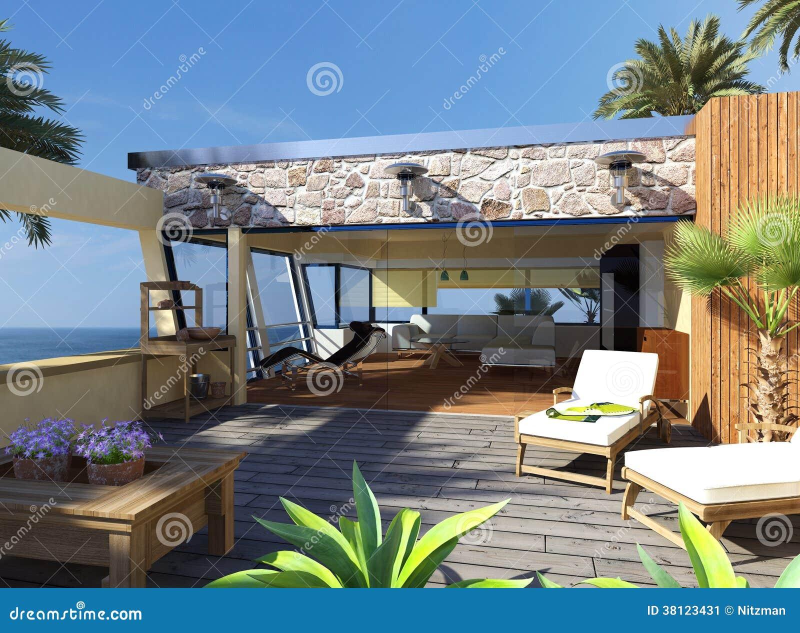 Appartamento moderno con la bella vista illustrazione di for Appartamento moderno